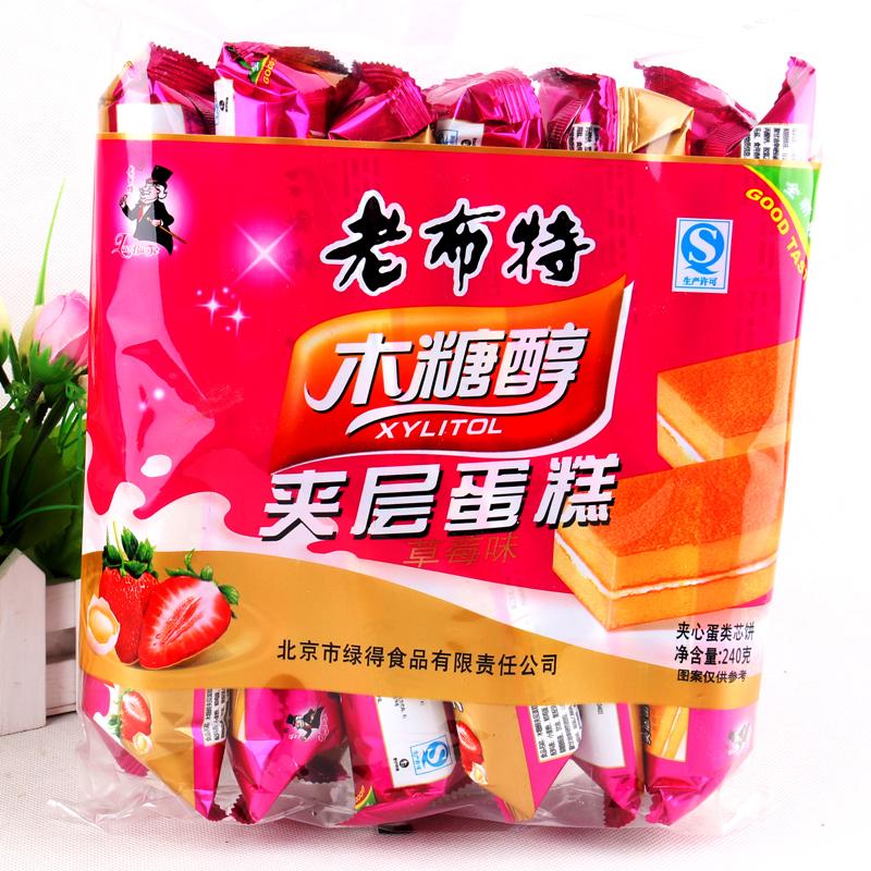 老布特木糖醇夹层蛋糕草莓味240g-糕点类图片